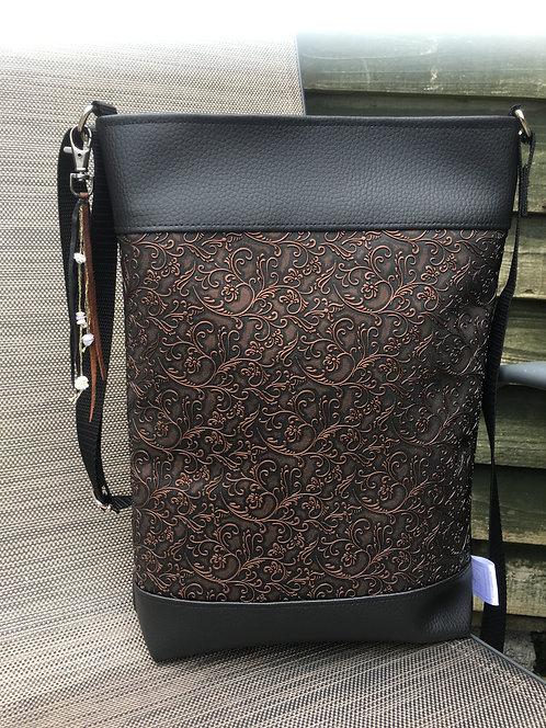 Black copper mid size crossbody purse