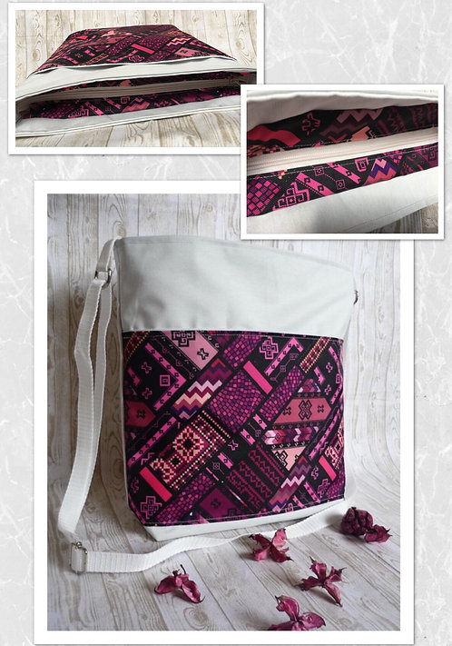 Large white pink purple Boho style crossbody handbag