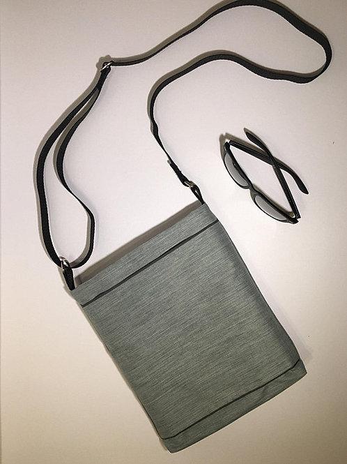 Grey Black mid size crossbody purse