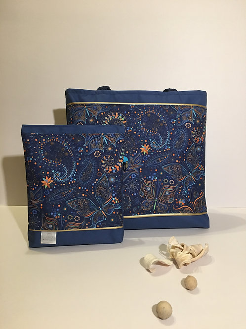 Dark blue set - shoulder handbag and matching cosmetic purse