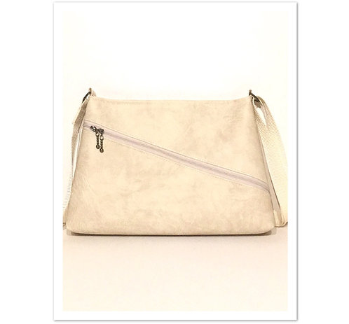 Luxury beige faux leather asymmetrical handbag