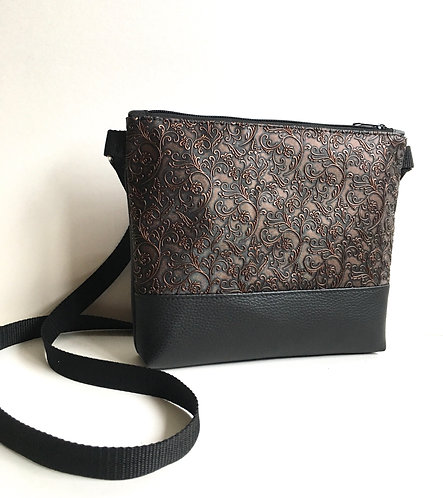 Small black copper faux leather crossbody purse