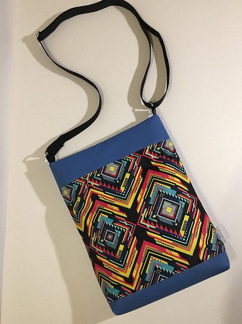 Blue boho style faux leather mid size crossbody bag