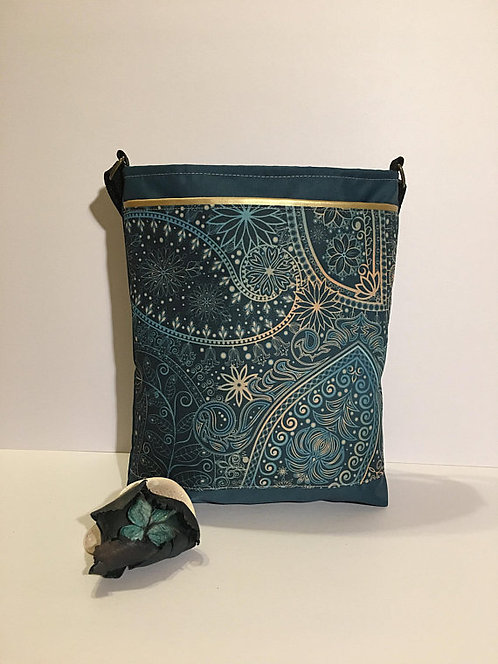 Golden green paisley mid size crossbody purse
