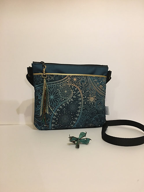 Golden green paisley design - small crossbody purse