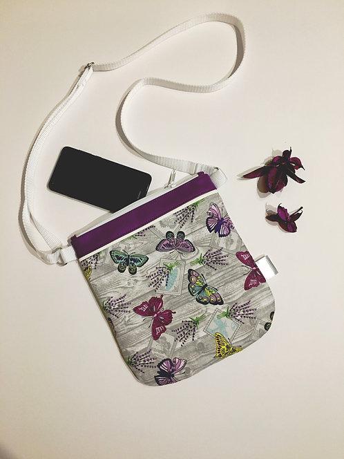Purple butterflies small crossbody bag