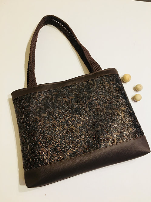 Brown designer faux leather handbag