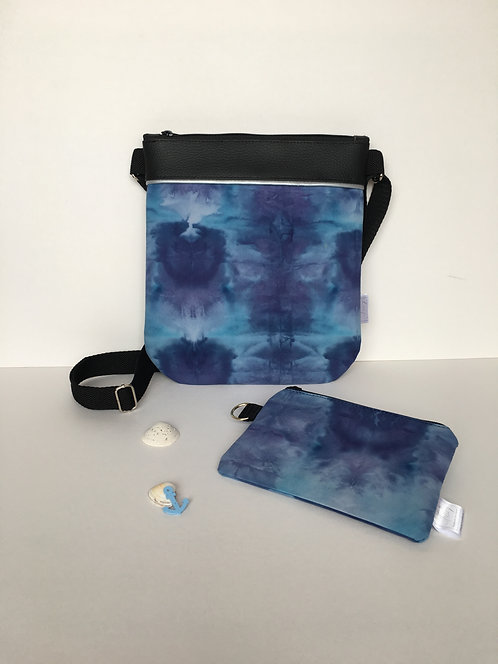 One of a kind original handbag - hand dyed, handmade small crossover purse