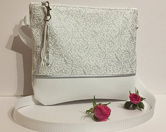 Small white silver faux leather crossbody purse