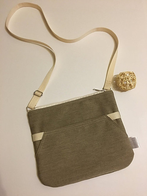Brown with beige details - crossbody purse