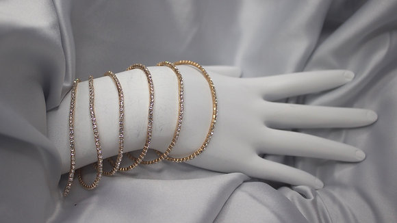 Set of 6 Gold Diamond Bracelet