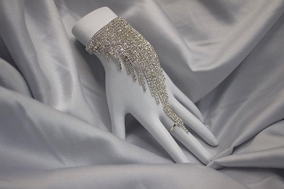 Silver Diamond Ring Bracelet