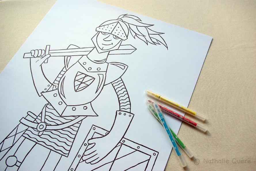 Poster à colorier - le chevalier