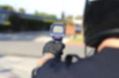 Police officer with radar gun