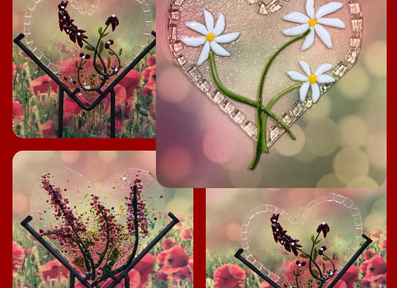 Fused Glass Floral Hearts-Sat. 1/30 3-5pm