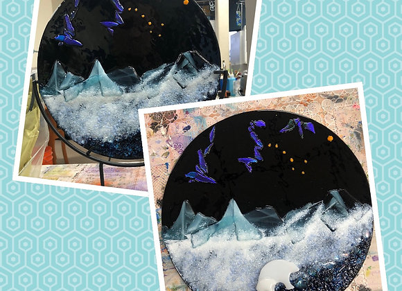 """10"""" Fused Glass Arctic Nights- Thurs. 1/28 6-8pm"""
