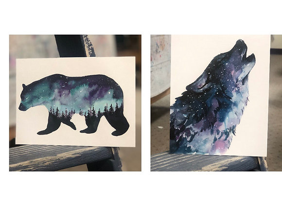 Watercolor Aurora Bear & Wolf-Sat. 10/10 3-5pm