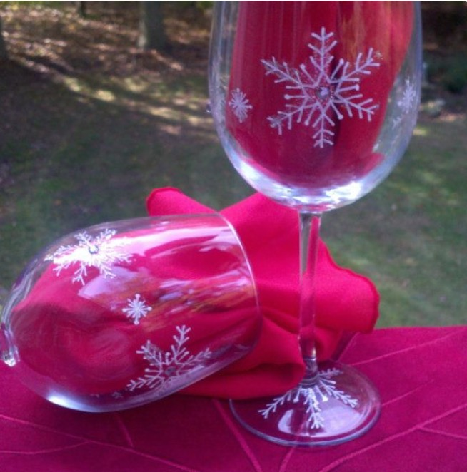 snowflake wine glasses