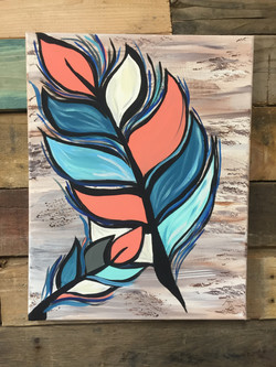 coral and teal feather