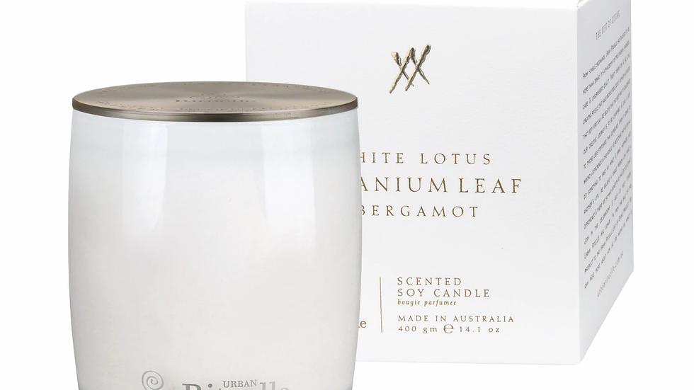 Scented Soy Candle White Lotus, Geranium Leaf & Bergamot