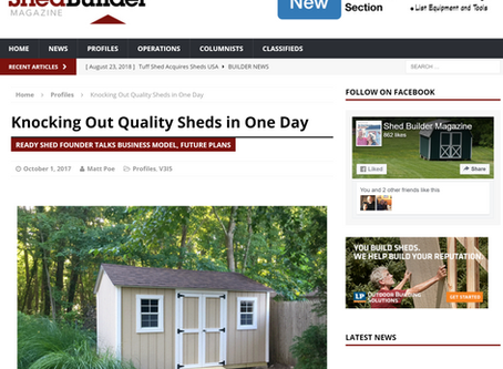 Ready Shed featured on the Cover of Shed Builder magazine and also as a featured article.