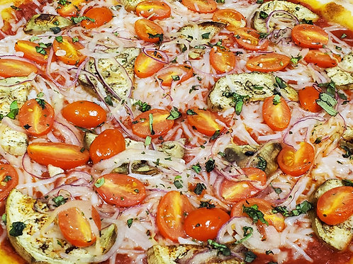 Gluten-Free Vegan Grilled Eggplant, Tomato, Red Onion  Pizza