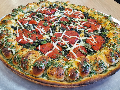 Gluten-Free Vegan Roasted Red pepper and Spinach Pizza
