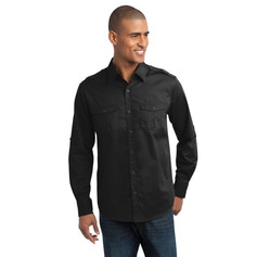 Port Authority Stain-Release Roll Sleeve Twill Shirt.