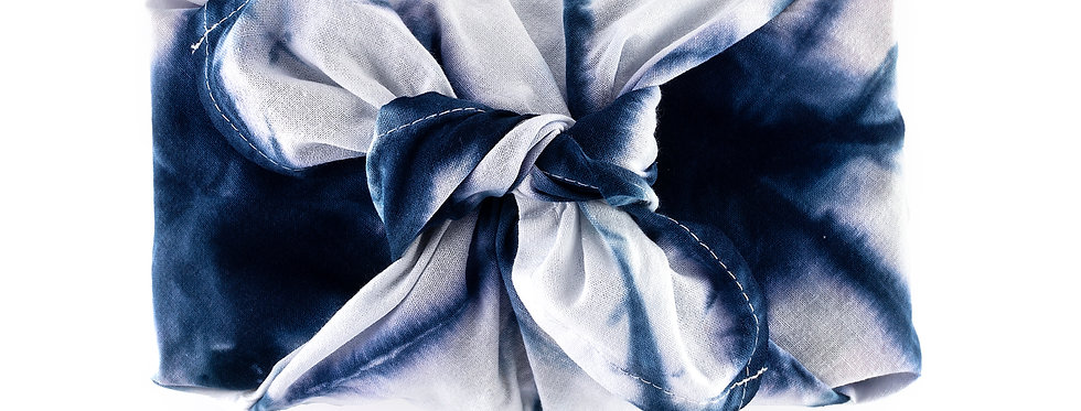 Shibori Hand Dyed  100% Cotton Kitchen Towel in Dark Indigo