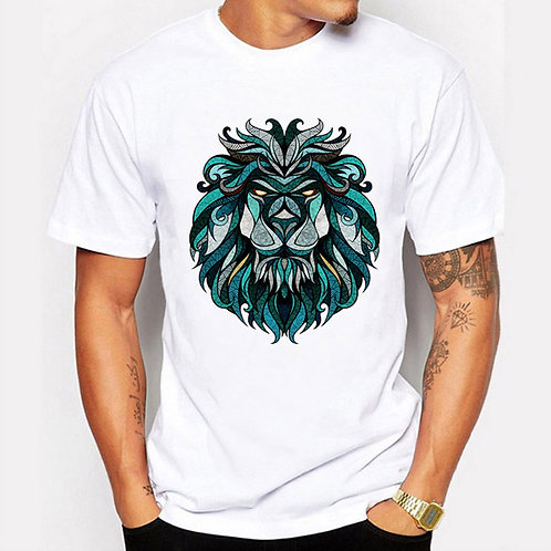 Flabbr Men's Fashion Style Unique Abstract Lion Printed T-shirt