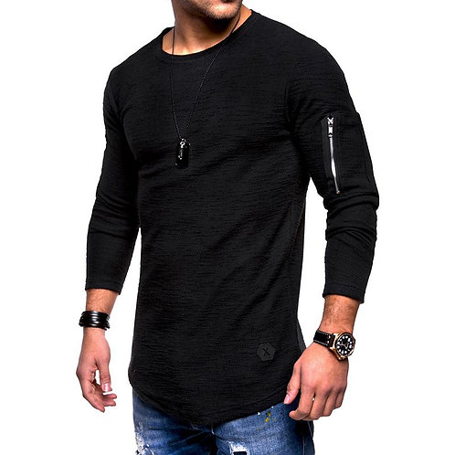 Flabbr Men Cotton Solid Color Round Neck Long Sleeves Zipper Patchwork Tops