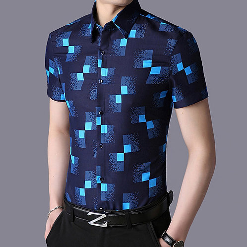 Men Slim Fit Plaid Lapel Short Sleeve Polyester Shirt