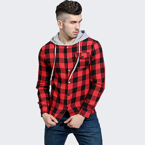 Flabbr Men Cotton Simple Style Plaid Printed Long Sleeves Hooded Coat