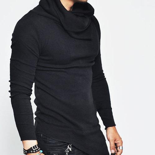 Flabbr Men's Heap Collar Irregular Hem Casual Sweashirt