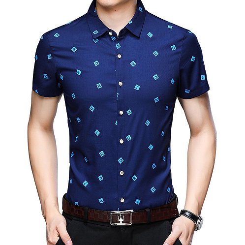 Flabbr Men's New Simple Letters Pattern Lapel Short Sleeve Viscose Shirt