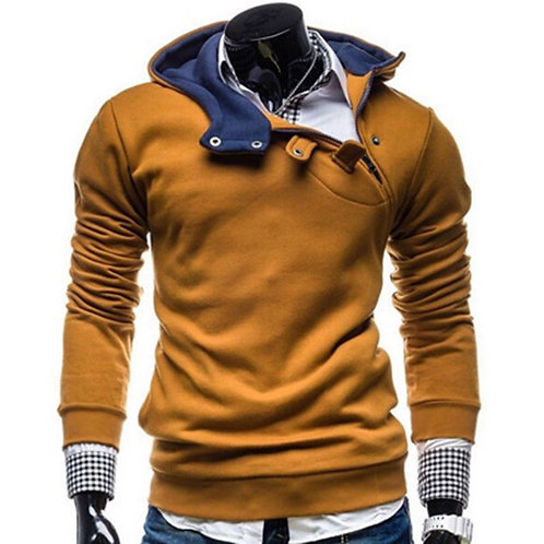 Latest Men Cotton Special Design Button Long Sleeves Outdoor Hoodie