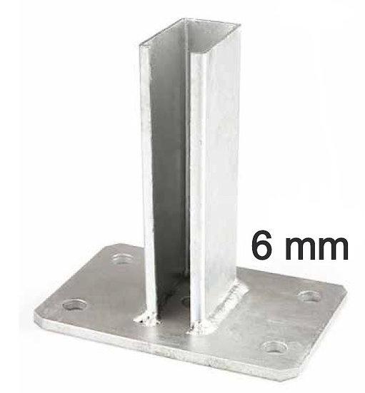 Fussplatte 40x60 mit durchgehenden Schlitz für Pfosten (6 mm) Fvz oder RAL Farbe