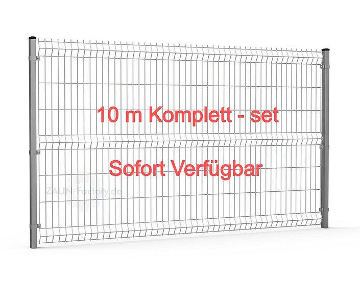 10,4 lfdm H= 1530 mm 3D Gitterstabmattenzaun ECONOMY Komplett-Set RAL 7016