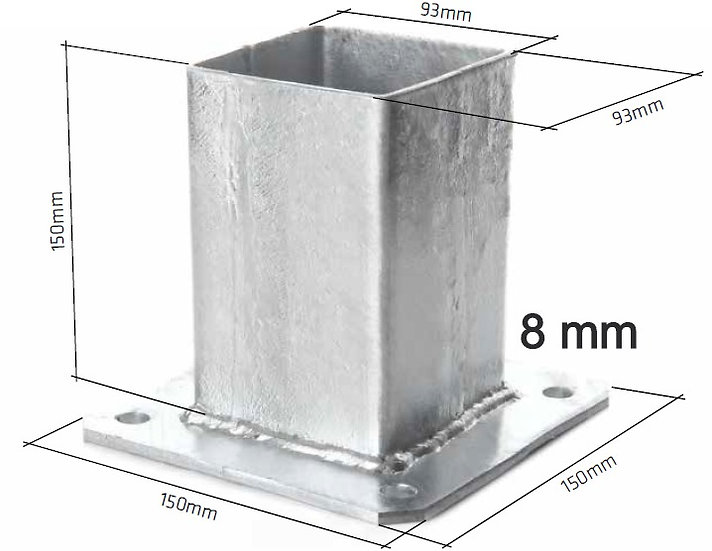 Fussplatte für Pfosten 100x100 (8 mm) Fvz oder RAL