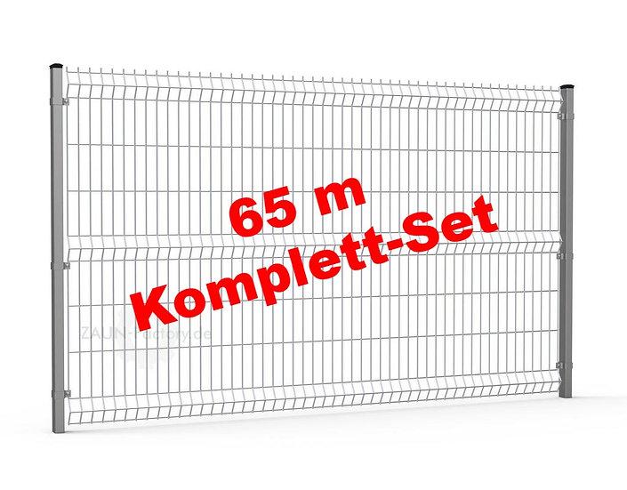 65 lfdm H= 1530 mm 3D Gitterstabmattenzaun ECONOMY Komplett-Set