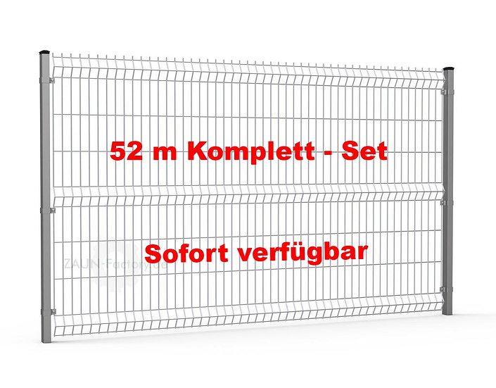 52 lfdm H= 1530 mm 3D Gitterstabmattenzaun ECONOMY Komplett-Set RAL 7016