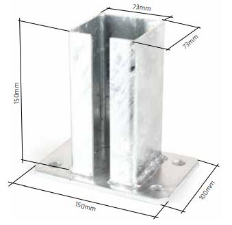 Fussplatte für Pfosten 80x80 (8 mm) Fvz oder RAL