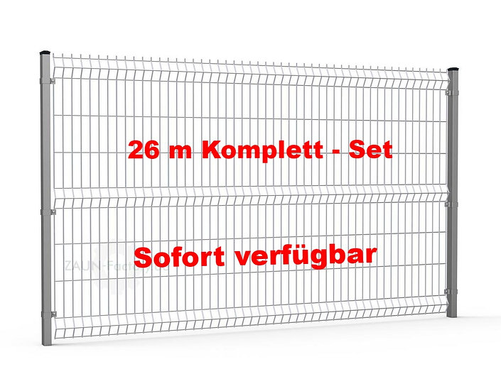 26 lfdm H= 1730 mm 3D Gitterstabmattenzaun ECONOMY Komplett-Set RAL 7016
