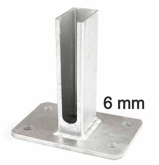 """Fussplatte mit Schlitzendung """"u"""" für Pfosten 40x60 (6 mm) Fvz oder RAL Farbe"""