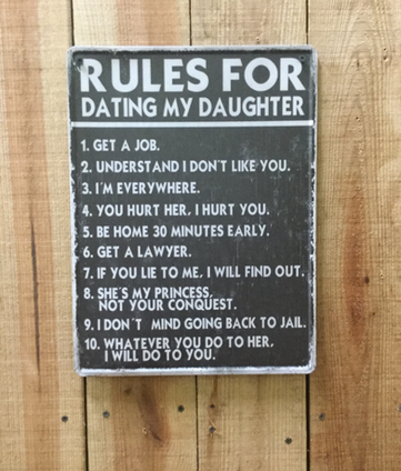 7f5c531f This cute sign is for Dads whose Daughter is about to start dating. It  gives the 10 rules for the prospective new son-in-law.