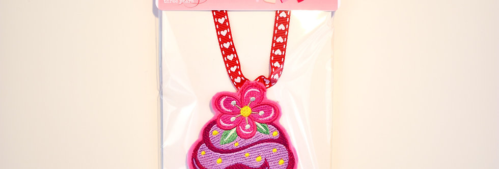 Flower Cupcake Fabric Necklace