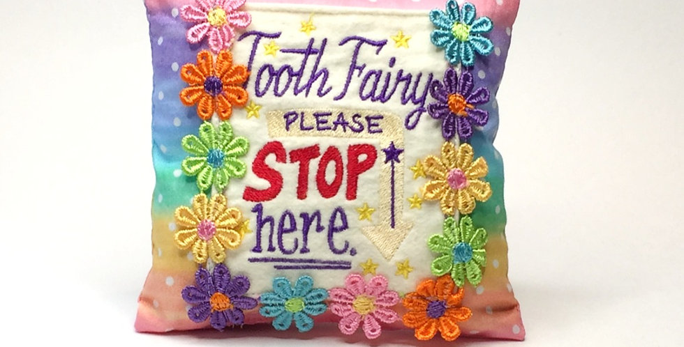 Sveta's Kidswear Rainbow and Flowers Tooth Fairy Pillow, front view.