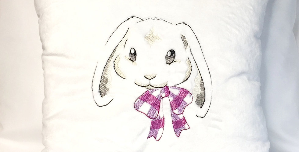 Sveta's Kidswear White, Baby Pillow Decorated With Bunny Face.