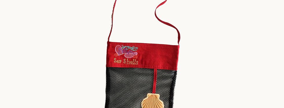 Mesh Bag for Sea Shells, Black with Embroidered Elements.