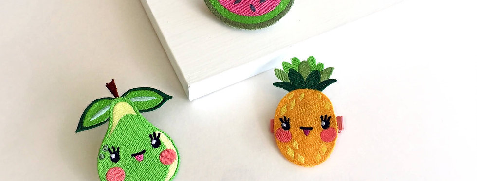 Hairclips 3 Pack- Pear, Pineapple, Watermelon, Embroidered.